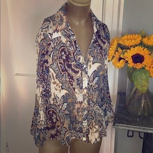 Sunny Leigh Bell Sleeve Pleated Top Paisley Size L